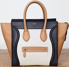 Celine Luggage Shrunken Lambskin Mini Shopper White and Black