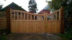 Custom Softwood 'Reverse Windsor' Driveway Gates Treated Brown