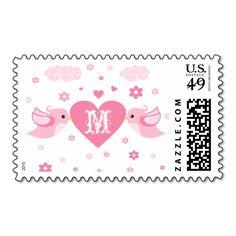 Monogram Pink Love Birds Heart Stamps