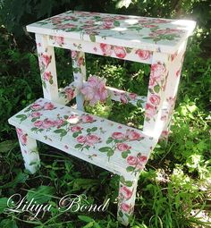 This looks like my IKEA step stool, but possibly modpodged with scrap paper. A little much for my tastes, but it would be cool with a different design modpodged on.