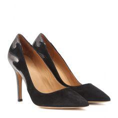 Isabel Marant - Escarpins en daim et cuir métallisé - La flamme est le nouvel emblème des souliers Isabel Marant. La créatrice l'insère subtilement sur ces escarpins mariant daim noir et cuir métallisé doré. seen @ www.mytheresa.com