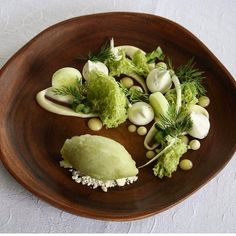 """2,086 Likes, 15 Comments - Gastro Art (@gastroart) on Instagram: """"Cucumber and fennel sorbet with dill sponge, dill meringue, white chocolate mousse, lemon curd &…"""""""
