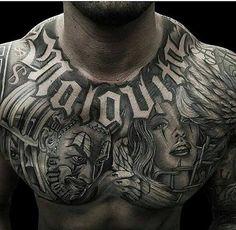 Gangsta Tattoos, Chicano Tattoos, Chicano Art, Torso Tattoos, Stomach Tattoos, Body Art Tattoos, Wicked Tattoos, Dope Tattoos, Tattoos For Guys