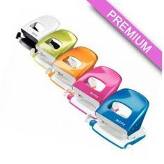 Dziurkacz Leitz WOW 5008 - dziurkacz do 30 kartek - wytrzymała i solidna konstrukcja - metalowy - dziurkuje jednorazowo do 30 kartek - dostępny w metalicznych kolorach: biały perłowy, różowy, niebieski, pomarańczowy, zielony