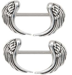 "Body Accentz® Nipple Ring Angel Wings bar body Jewelry sold as Pair 14g 1/2"" Body Accentz Nipple Rings. $4.99"