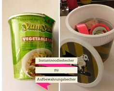 My.Life.Ink: Recycling DIY - Instantnoodlesbecher mit Washi Tape style