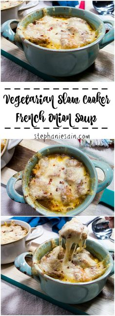 Vegetarian Slow Cooker French Onion Soup is a hearty tasty soup that is perfect for all your Fall evenings Great on its own or served with salad Vegetarian and Gluten Fre. Crock Pot Recipes, Vegetarian Crockpot Recipes, Veggie Recipes, Slow Cooker Recipes, Soup Recipes, Cooking Recipes, Healthy Recipes, Vegetarian French Recipes, Slow Cooker Soup Vegetarian