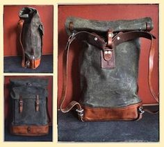 Re-conditioned vintage Swiss Army canvas & leather roll-top rucksack (back in stock) Canvas Backpack, Backpack Bags, Leather Backpack, Leather Roll, Leather Men, Swiss Army Bag, Army Rucksack, Vintage Backpacks, Leather Accessories