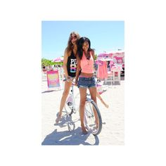 Behati Prinsloo and Chanel Iman Celebrate Spring Break with Victoria's... ❤ liked on Polyvore