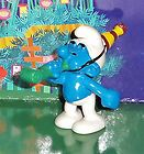 VINTAGE PARTY SMURF WITH A HAT AND A NOISEMAKER 2007 SMURF LOT - 2007, noisemaker, PARTY, Smurf, Vintage