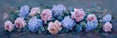 """Roses and Hydrangeas"" Susan Rios Keepsakes 4 x 12 | Roses And Teacups"