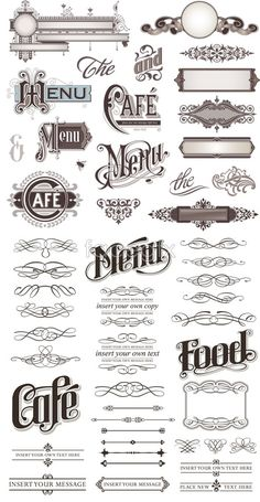 """The middle """"menu"""" under """"cafe"""" - I like the flourishes on the M here, with the swirls through the letters."""