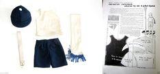 Tenue de Canotier sport vêtements Poupée ancienne Bleuette 27cm 1930 | eBay