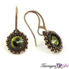 Kolczyki Beaded Swarovski Elements - Olivine   Tarragon Art - stylowa biżuteria artystyczna
