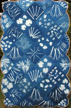 Catherine Corbishley Cell Path Blues 3, Cyanotype on Fabric , 64x44 inches