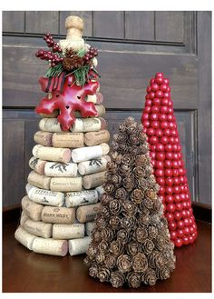 Items similar to Christmas Mantle Trees, Christmas Cone Trees, Paper Mache Cone Trees, Topiary Cone Trees, Christmas Center Piece on Etsy Homemade Christmas Decorations, Xmas Decorations, Holiday Crafts, Handmade Christmas, Christmas Crafts, Cork Christmas Trees, Wine Cork Crafts, Diy Weihnachten, Christmas Projects