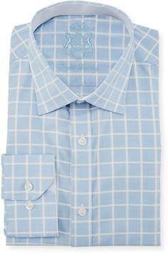 934015c680 Classic-Fit Checkered Dress Shirt Light Blue