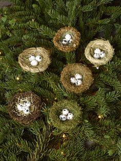 Bird Nest Ornament, Set of 6 | Christmas Tree Ornaments