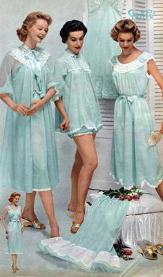 1950s womens' fashion. I love this! When bedtime had fashion. Now it t-shirts & undies