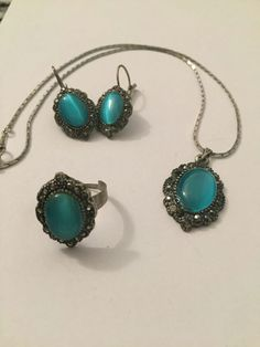 Turquoise Earrings Ring and Necklace Türkis Ohrringe Ring und Halskette