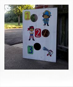For our daughter's 4th Birthday pirate party, we've created this board. Kids had a lot of fun with it. Each kid had 3 balls, the aim was to score the maximum points (from 0 to 9).