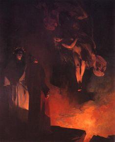 """Henri Martin -  """"Paolo Malatesta et Francesca da Rimini aux enfers"""" 1883 oil on canvas Musée des beaux-arts de Carcassonne"""