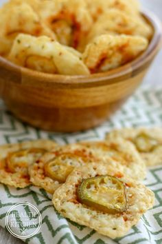 Low Carb {2 Ingredient} Crispy Jalapeño Cheese Crackers