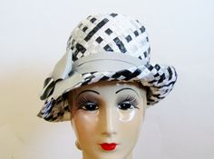 1960s Mod Dress Hat  Black Grey & White by 4birdsvintage on Etsy, $45.00