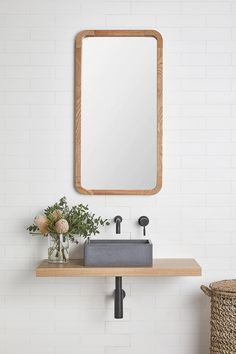 The Bombo vanity shelf is the perfect solution for any small bathroom space. Bombo's simple and elegant design will compliment any style of counter set basin and tap-ware. Boho Bathroom, Bathroom Trends, Bathroom Renovations, Bathroom Interior, Small Bathroom, Master Bathroom, Master Master, Bathroom Ideas, Bathroom Designs