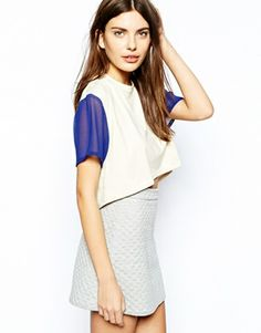 Lavish Alice Dip Back Crop T-Shirt with Sheer Sleeve