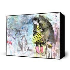 It's hard to say if the canine pictured in Lora Zombie's Rain Dog has been caught in the storm, of if he's an imaginary companion—girl's best friend. But the arresting yellow polka dot dress and pink rain boots add an irresistible charm to a sea of grays and blues.      $24.50