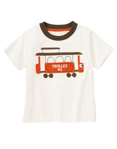 All aboard! Smiling trolley tee is made from soft cotton jersey for easy everyday style.