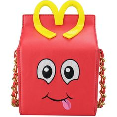 Moschino Leather Happy Meal Bag with Shoulder Strap ($890) ❤ liked on Polyvore featuring bags, handbags, shoulder bags, moschino, purses, red, red leather shoulder bag, red purse, red leather purse and shoulder strap handbags