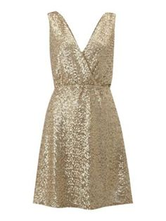 $52 tfnc Cross over sequin dress Gold - House of Fraser
