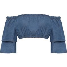 Jules Denim Layered Sleeve Bardot Gypsy Crop Top (210 NOK) ❤ liked on Polyvore featuring tops, shirts, crop top, blue, blue denim shirt, blue crop top, denim off the shoulder top, short crop tops and bell sleeve tops