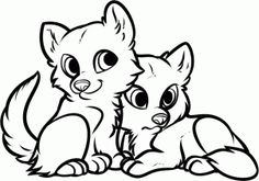how to draw wolf puppies, wolf cubs  in black and white
