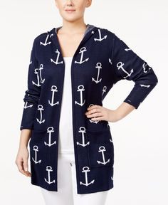 Belldini Plus Size Anchor-Print Cardigan