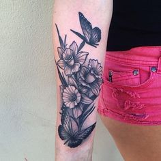 Black and grey daffodils with butterflies on arm tattoo by Pari Corbitt at WA Ink Fremantle. Realistic black and grey dog portrait tattoo by Merrick Ames at WA Ink Fremantle. Daffodil Flower Tattoos, Birth Flower Tattoos, Small Flower Tattoos, Flower Tattoo Arm, Flower Tattoo Designs, Butterfly Tattoos, Daffodil Flowers, Narcissus Flower, Sunflower Tattoos