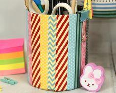 Kids Craft DIY Washi Tape Pencil Pot Tutorial - Trimcraft