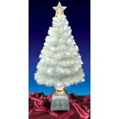 4 Foot Pre-Lit White Fiber Optic White Christmas Tree with LED ...
