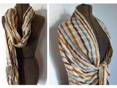 This almond, gold & mint open weave scarf is a long-lasting scarf made with care by women artisans from Mexico.