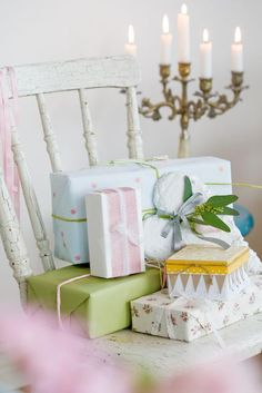 Pastel gift wrapping vignette via When Decorating blog