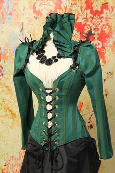 Waist 26 to 28-Bust 34 to 37-Emerald Stripe Ruffle Collar Courtier with BONUS Free Victorian Sleeves