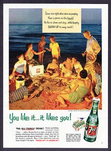 Vintage Picnic Barbeque Beach Seven Up Ad