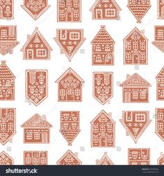 Find Gingerbread Houses Seamless Pattern Gingerbread House stock images in HD and millions of other royalty-free stock photos, illustrations and vectors in the Shutterstock collection. Cardboard Gingerbread House, Gingerbread House Patterns, Gingerbread Village, Christmas Gingerbread House, Christmas Makes, Christmas Art, Winter Christmas, Christmas Cookies, Christmas Decorations
