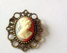 Raspberry Cream Cameo Brooch Pin Romantic Antique Brass Regency Rococo Victorian Marie Antoinette EGL Woman
