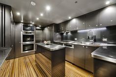 """The kitchen onboard the incredible private superyacht """"Zenith"""". Designed by ID Studios Pyrmont"""