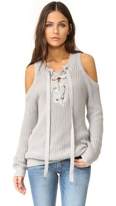 J.O.A. Cold Shoulder Lace Up Sweater Shopbop