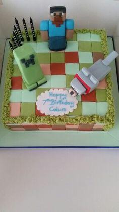 Minecraft birthday cake with creeper and Steve