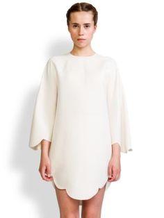 Valentino Wool Silk Scallop Edge Tunic Top   Clothing